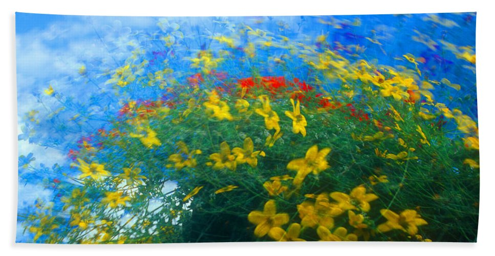 Flower Bath Sheet featuring the photograph Flowery Sky by David Smith