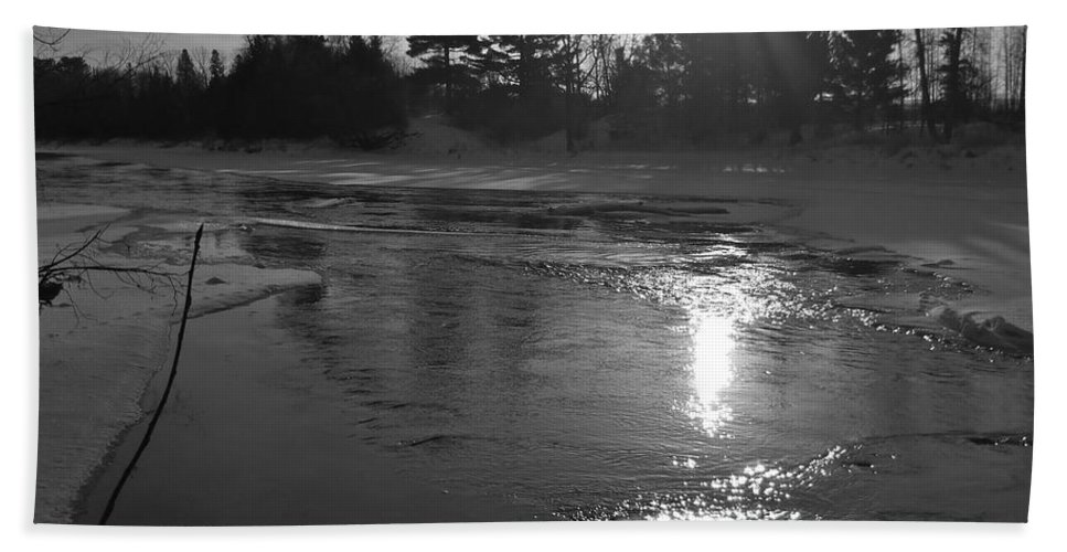 Black And White Bath Sheet featuring the photograph Flowing Water At Sunrise by Kent Lorentzen