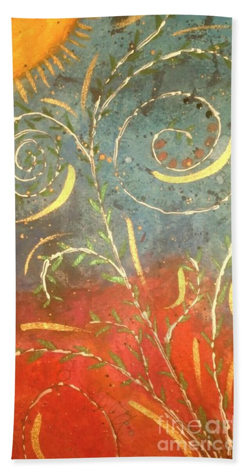 Greeting Cards Hand Towel featuring the digital art Flowing Wild In The Sun by Angela L Walker