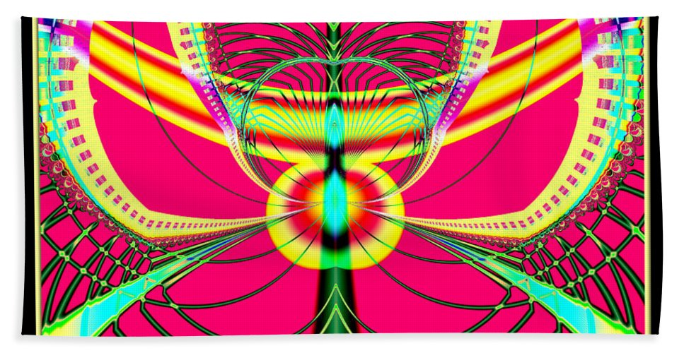Fluorescent Hand Towel featuring the digital art Fluorescent Butterfly Fractal 68 by Rose Santuci-Sofranko