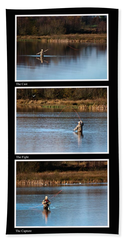 Fly Fishing Bath Sheet featuring the photograph Fly Fishing Triptych Black Background by Steve Purnell
