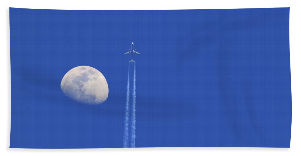 Air Hand Towel featuring the photograph Fly Me To The Moon by Ricky Barnard