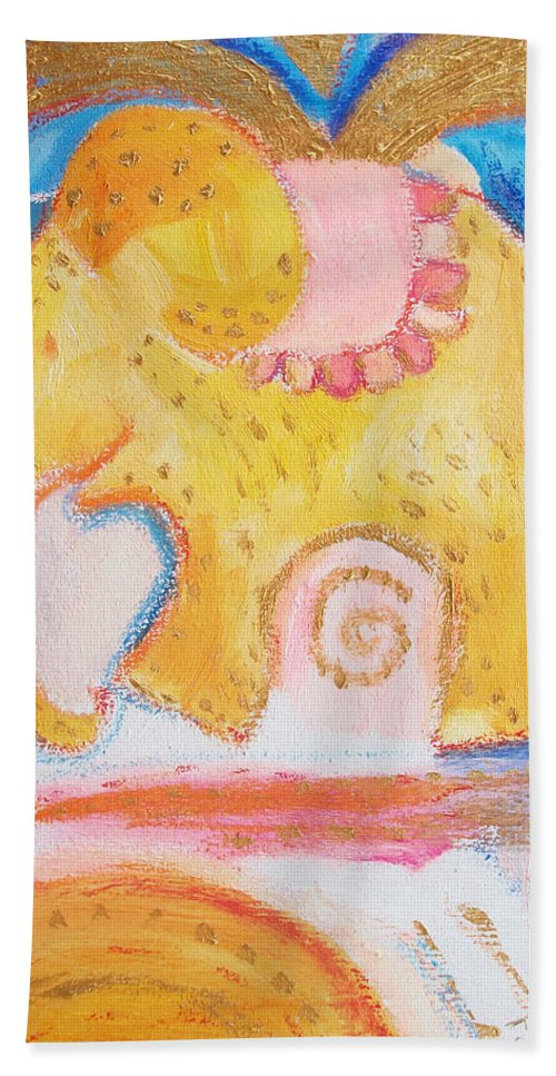 Yellow Orange Elephant Bath Sheet featuring the painting Flying Elephant by Jelila
