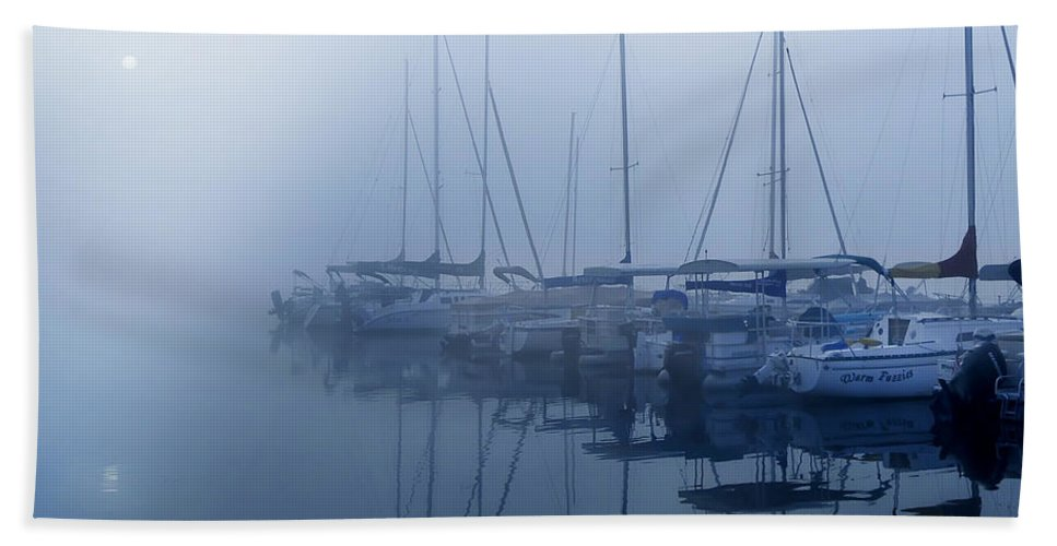 Fog Hides Sun From Sailboats Hand Towel featuring the photograph Fog Hides Sun From Sailboats by Randall Branham