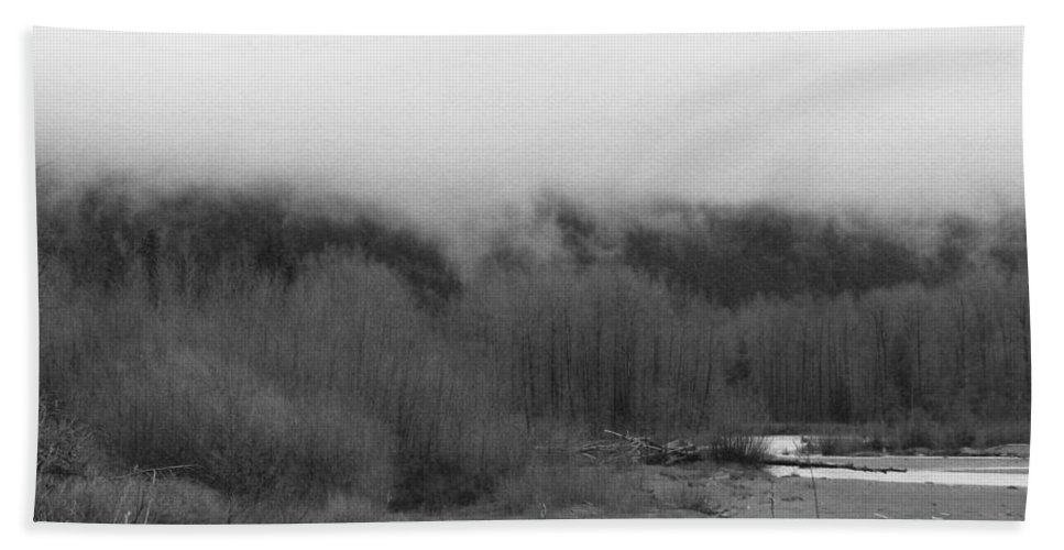River Bath Sheet featuring the photograph Foggy Down The Mountain by Kathleen Grace