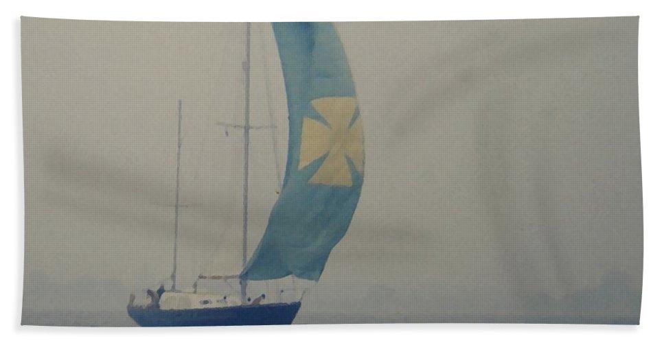 Sailboat Bath Sheet featuring the digital art Foggy Genoa by Lin Grosvenor