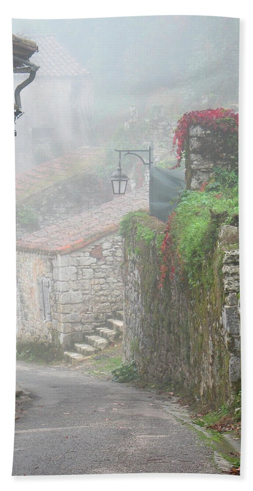 Fog Bath Sheet featuring the photograph Foggy Lane In St Cirq by Greg Matchick