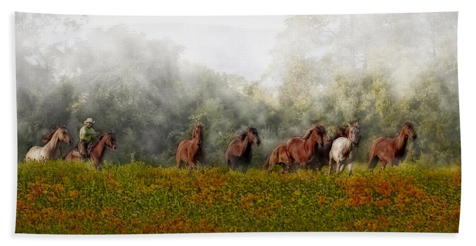 Equestrian Bath Sheet featuring the photograph Foggy Morning by Susan Candelario