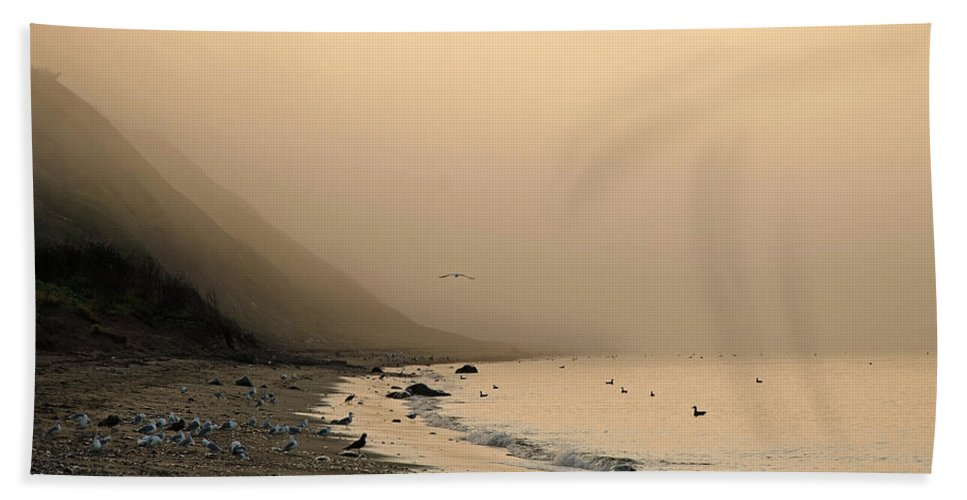 Beach Bath Sheet featuring the photograph Foggy Shores by Jeff Galbraith