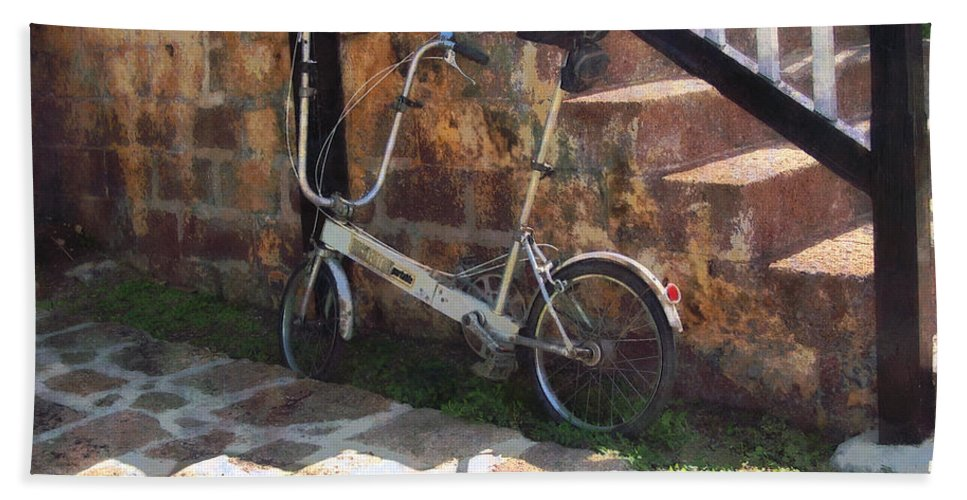 Bicycle Bath Sheet featuring the photograph Folding Bicycle Antigua by Susan Savad