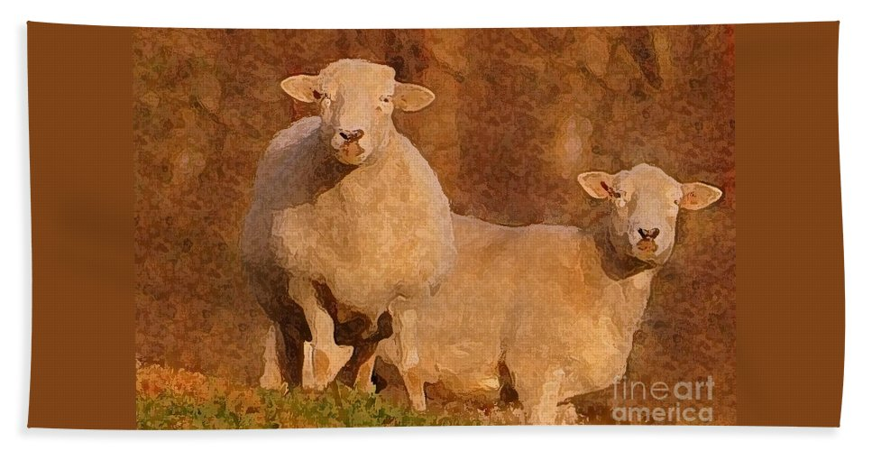 Sheep Hand Towel featuring the mixed media Follow by Lydia Holly