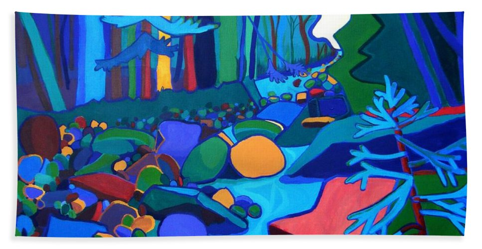 River Hand Towel featuring the painting Follow The River Jackson Nh by Debra Bretton Robinson