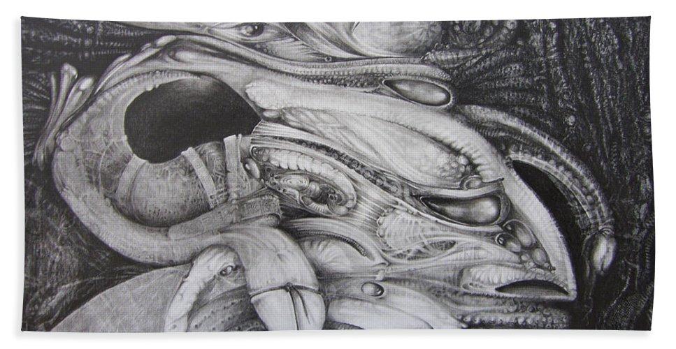 Fomorii Bath Sheet featuring the drawing Fomorii General by Otto Rapp