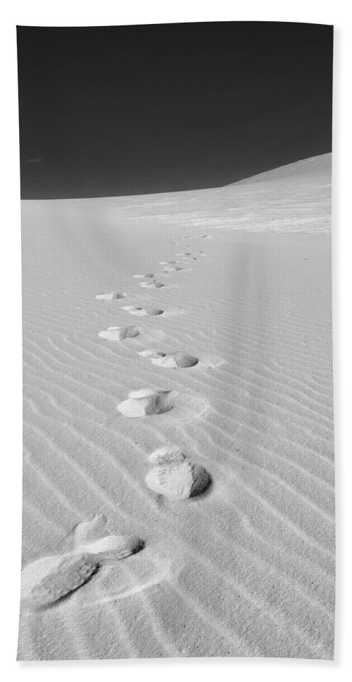 New Mexico Bath Sheet featuring the photograph Foot Prints In White Sands 1 by Sean Wray