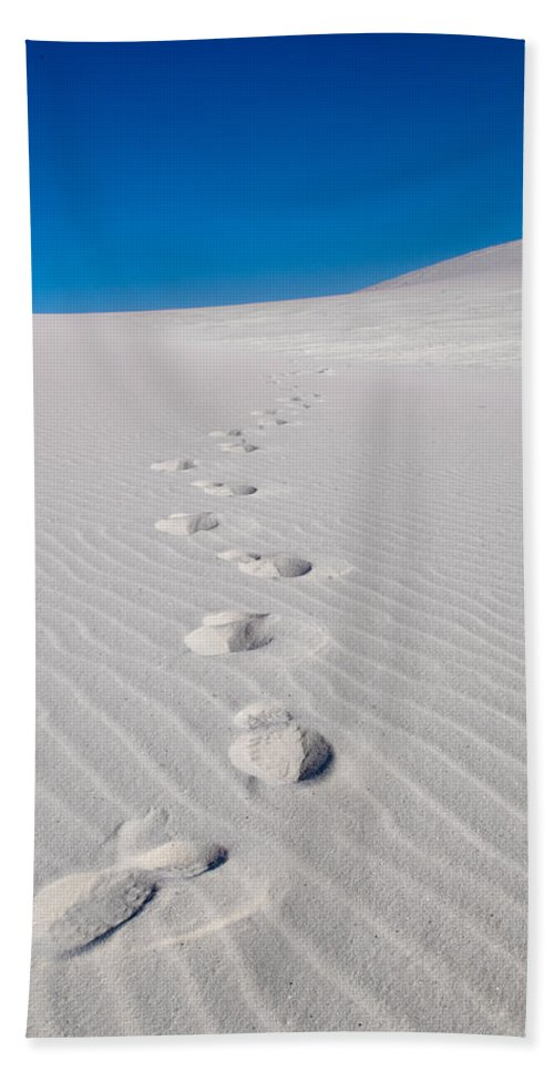 New Mexico Bath Sheet featuring the photograph Foot Prints In White Sands 2 by Sean Wray