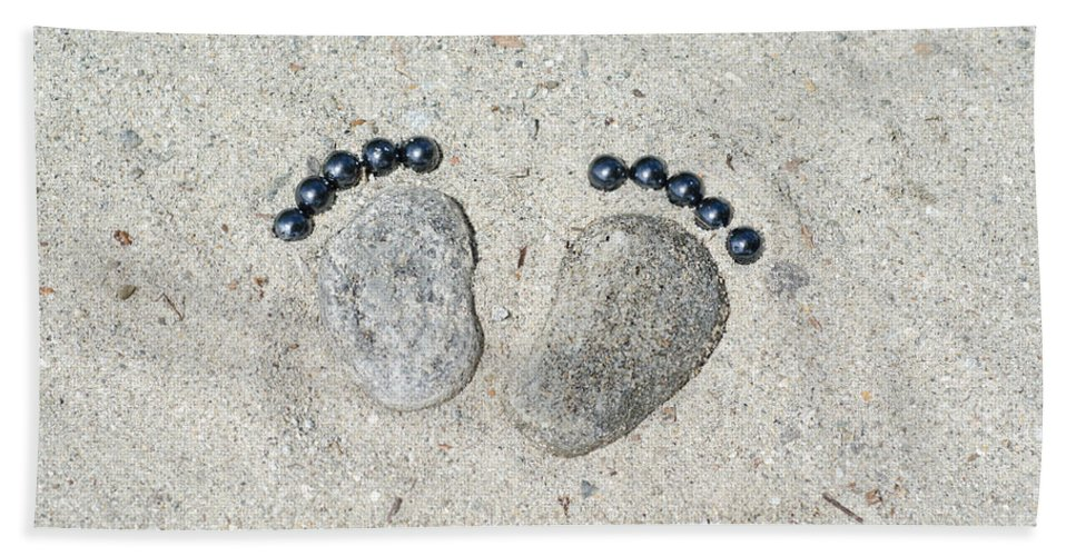 Footprints Bath Sheet featuring the photograph Footprints Made Of Stones In The Sand by Mats Silvan