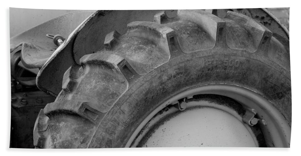 Ford Bath Sheet featuring the photograph Ford Tractor In Black And White by Jennifer Ancker