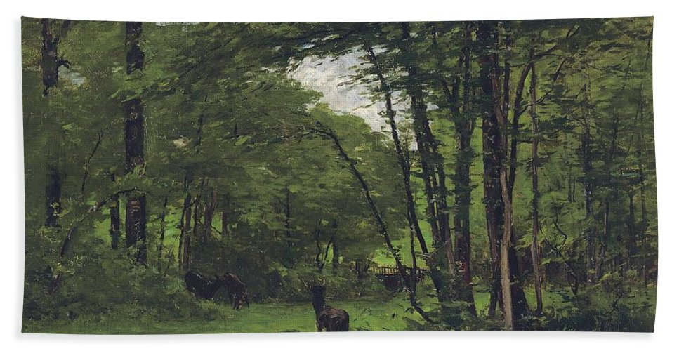 Fontainebleau Hand Towel featuring the painting Forest Of Fontainebleau by Nathaniel Hone