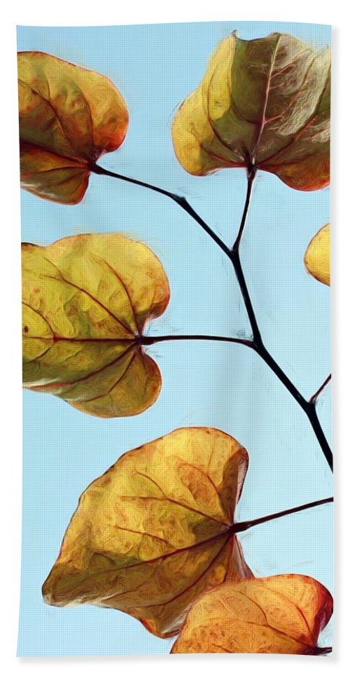 Redbud Hand Towel featuring the photograph Forest Pansy Autumn by Heidi Smith