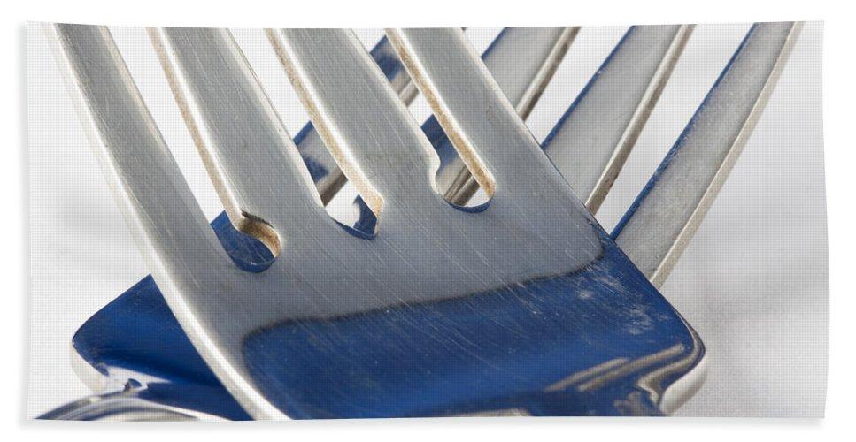 Photograph Bath Sheet featuring the photograph Forks Pair 1 A by John Brueske