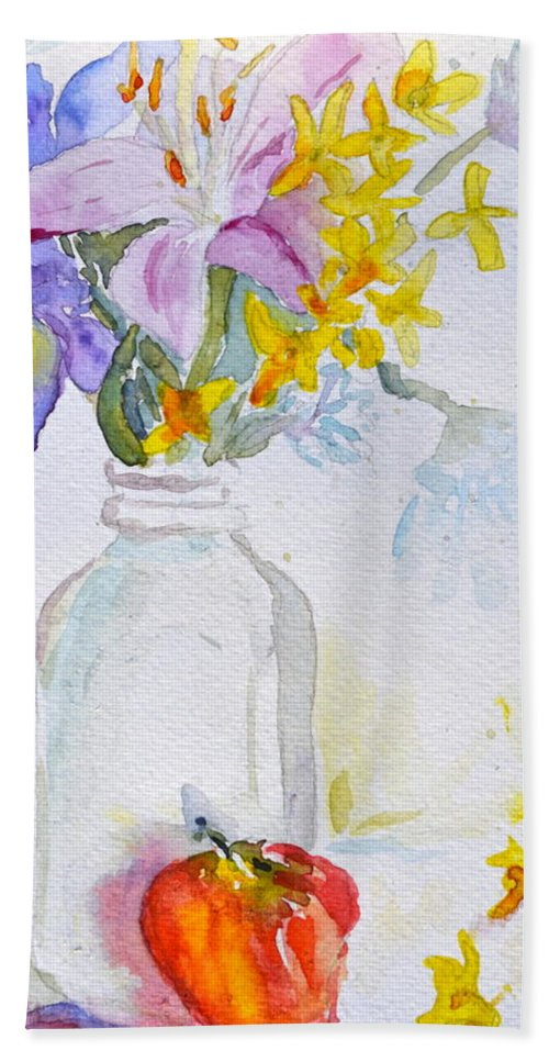 Forsythia Hand Towel featuring the painting Forsythia And Ghost Daisies by Beverley Harper Tinsley