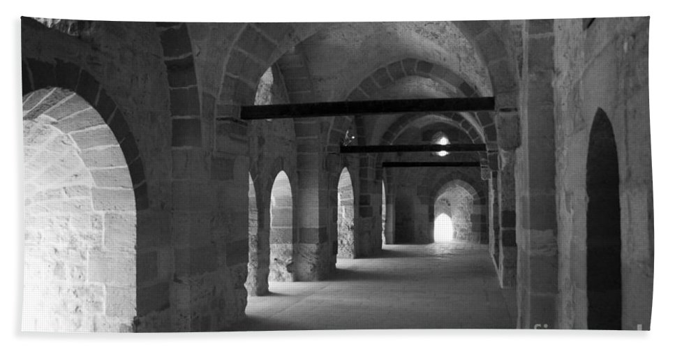 Alexandria Bath Sheet featuring the photograph Fort Quaitbey Hallways by Darcy Michaelchuk