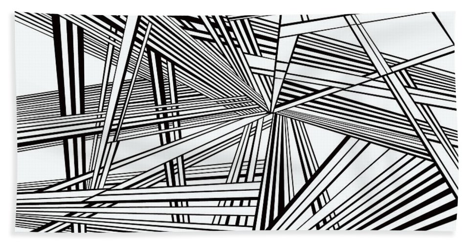 Dynamic Black And White Bath Sheet featuring the painting Foundations by Douglas Christian Larsen