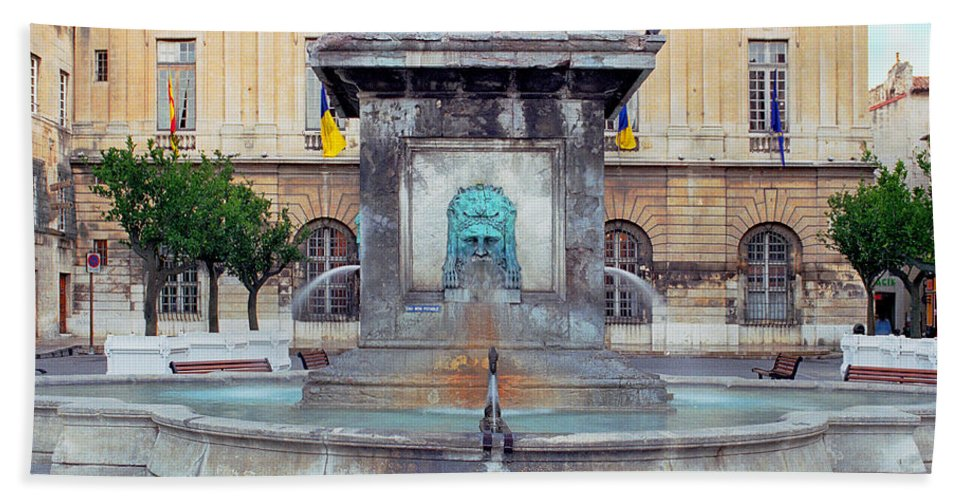 Arels Bath Sheet featuring the photograph Fountain In Arles France by Greg Matchick