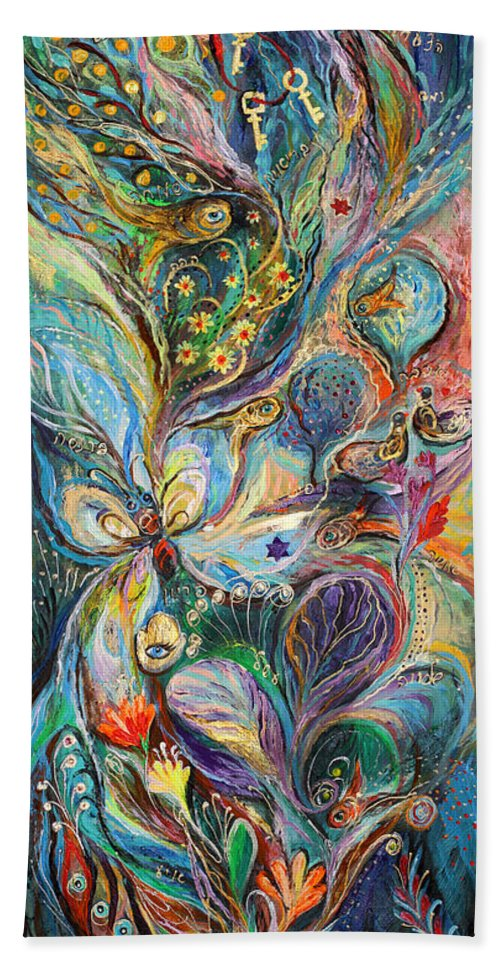 Original Bath Sheet featuring the painting Four Elements Air Part 2 From 4 by Elena Kotliarker