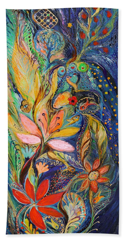 Original Bath Sheet featuring the painting Four Elements Water Part 1 From 4 by Elena Kotliarker