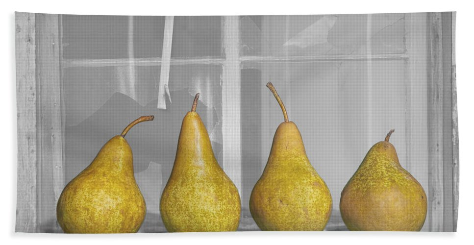 Art Hand Towel featuring the photograph Four Pears On Windowsill by Randall Nyhof