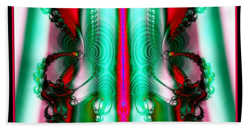 Christmas Hand Towel featuring the photograph Fractal 29 Christmas Ribbons by Rose Santuci-Sofranko