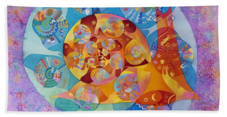Snail Hand Towel featuring the tapestry - textile Fractal Snail by Kate Krivoshey