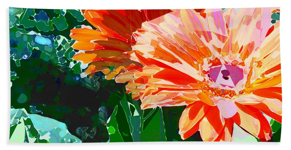 Gerber Bath Sheet featuring the painting Fractured Gerber Daisies by Elaine Plesser