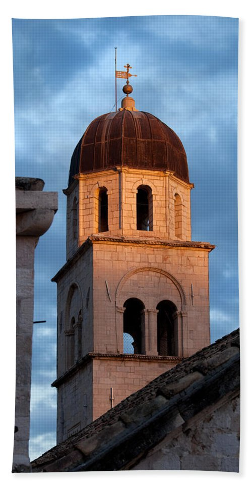 Dubrovnik Bath Sheet featuring the photograph Franciscan Monastery Tower At Sunset by Artur Bogacki