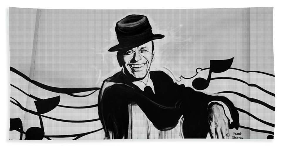 Frank Sinatra Hand Towel featuring the photograph Frank In Black And White by Rob Hans