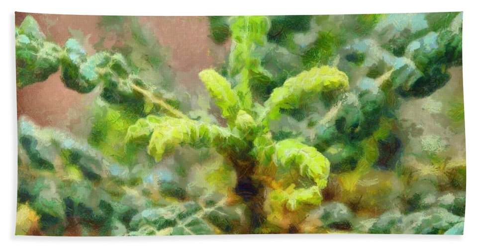Tree Bath Sheet featuring the painting Frankincense Tree Leaves by Balram Panikkaserry