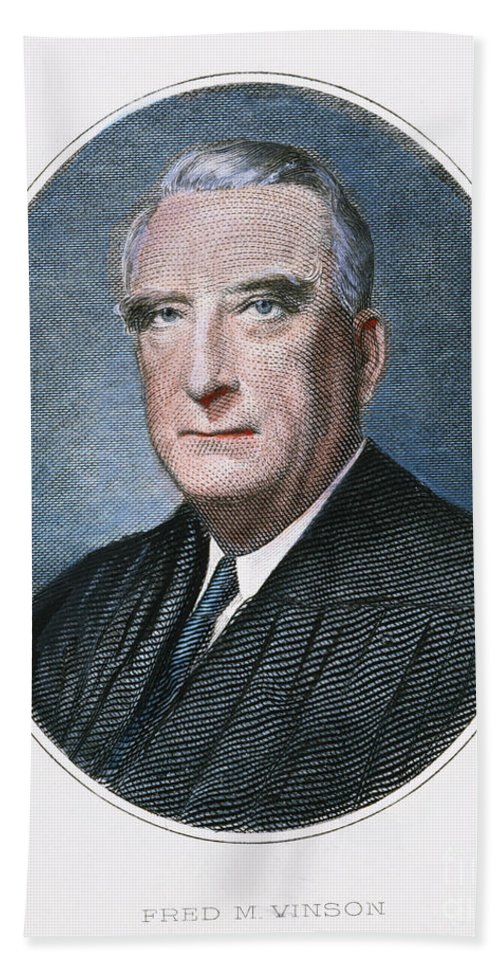 20th Century Hand Towel featuring the photograph Frederick Vinson (1890-1953) by Granger