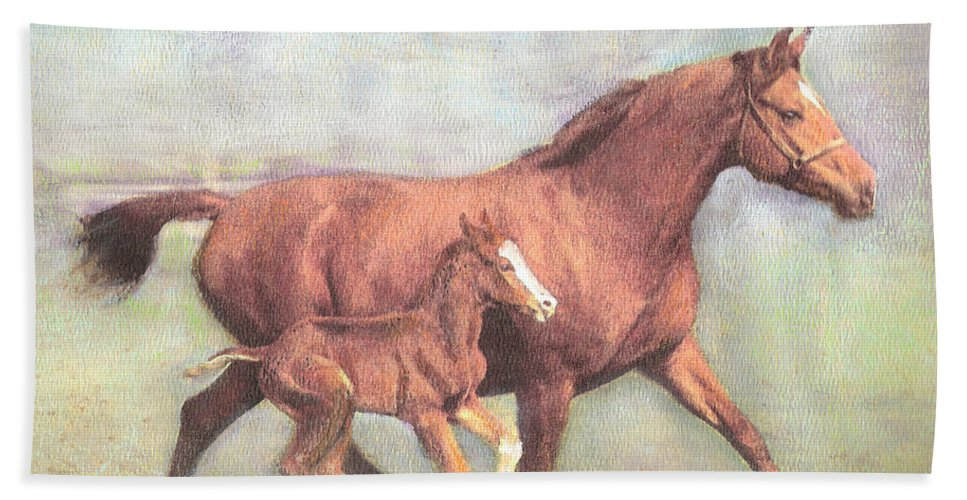 Horse Bath Sheet featuring the painting Free And Fleet As The Wind by Richard James Digance