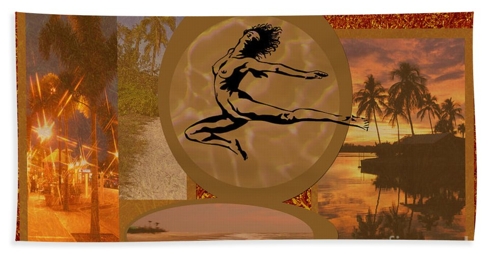 Gold Bath Sheet featuring the digital art Free To Be Me by Peggy Starks