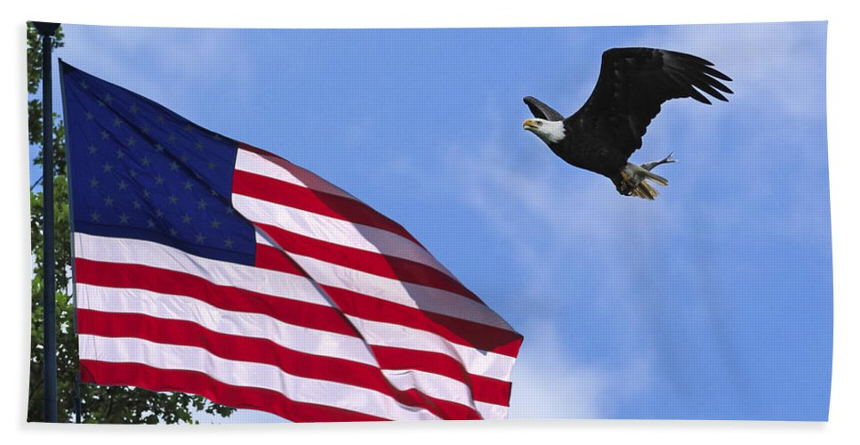 Eagle Flag Blue Sky Hand Towel featuring the photograph Freedom Feeds The Family by Randall Branham