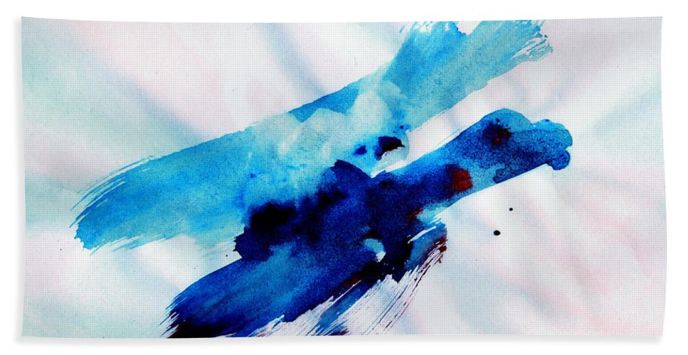 Abstract Birds Bath Sheet featuring the painting Freedom Flight by Hanne Lore Koehler