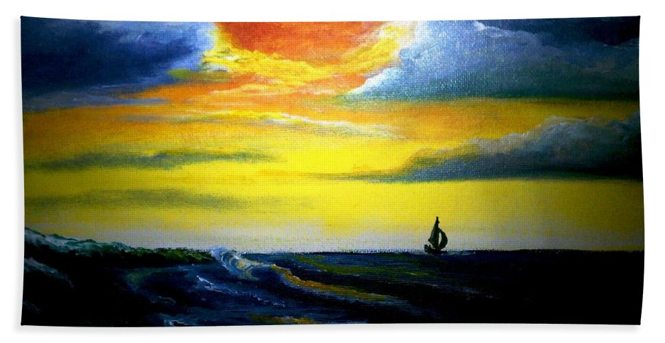 Landscape Hand Towel featuring the painting Freedom by Glory Fraulein Wolfe