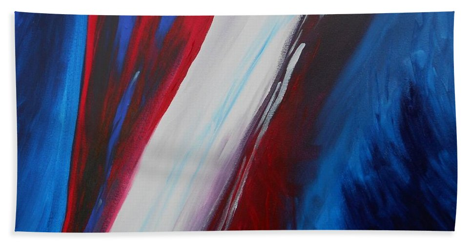 Patriotic Hand Towel featuring the painting Freedom Of Abstraction by Susan Hanna