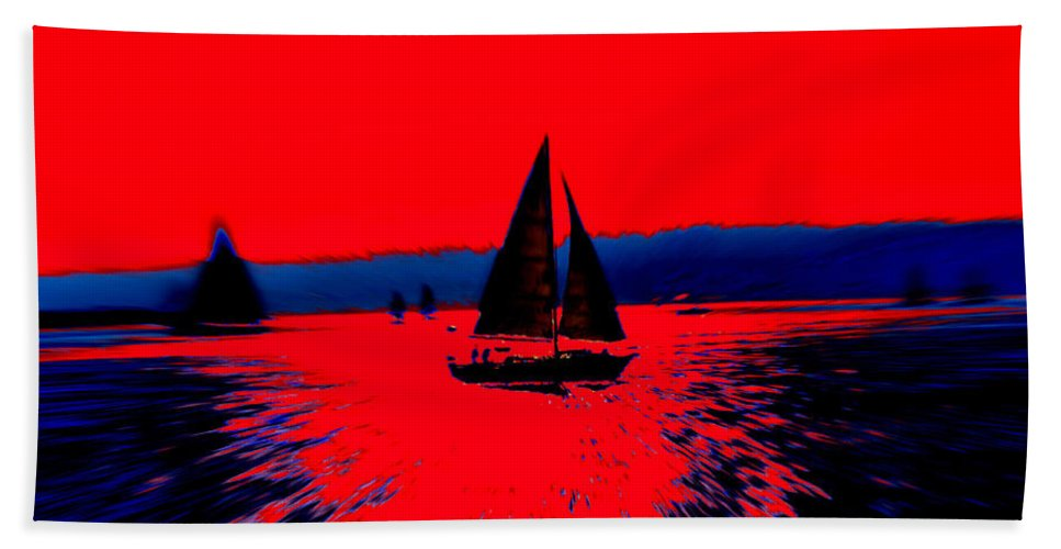 Sailing San Diego Bay Digital Photo Abstract Bold Contrast Red Blue Sailboats Bath Sheet featuring the photograph Freedom by RJ Aguilar