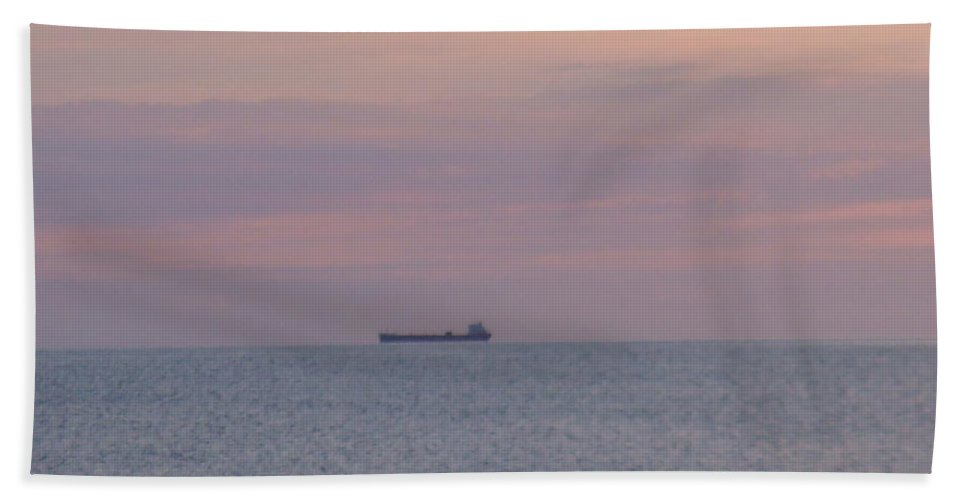 Freighter Hand Towel featuring the photograph Freighter by Bonfire Photography