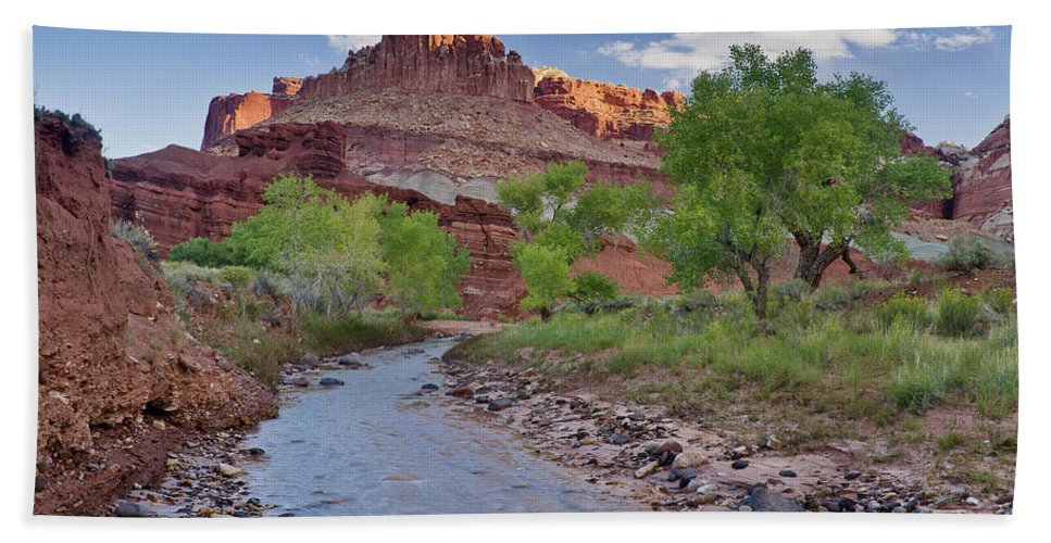 Capitol Reef National Park Bath Sheet featuring the photograph Fremont River And Castle by Greg Nyquist