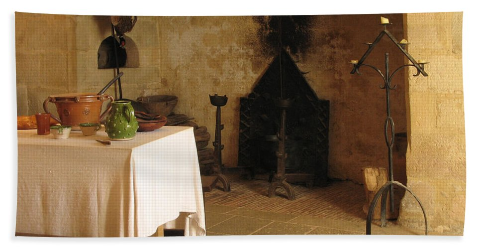 Kitchen Hand Towel featuring the photograph French Kitchen In Castelnaud by Greg Matchick