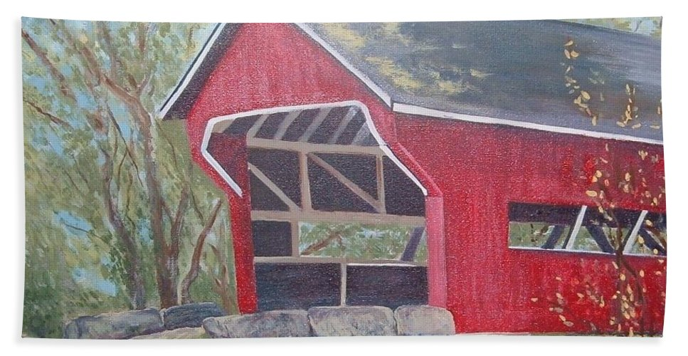 Red Covered Bridge Hand Towel featuring the painting French Lick Covered Bridge by Julie Cranfill
