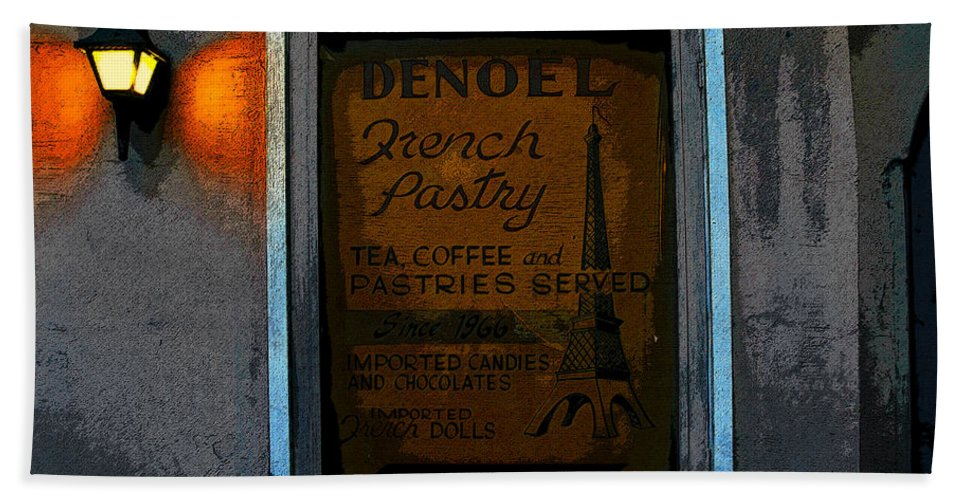 Art Bath Sheet featuring the painting French Pastry Shop by David Lee Thompson